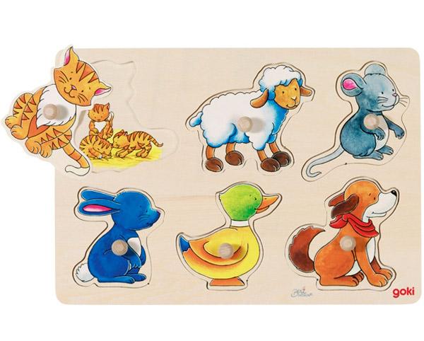 Goki Hintergrundbildpuzzle Tiere Mutter Kind
